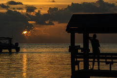 Solnedgång på tropiskt läge Royaltyfria Bilder