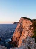 Solnedgång på udde Lefkas Royaltyfri Foto