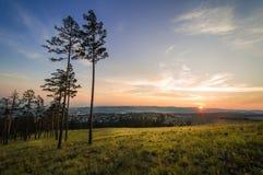 Solnedgång på Ulan-Ude Arkivbilder
