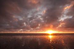 Solnedgång på västkusten Nya Zeeland Arkivbild