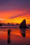 Solnedgång på vagga Arkivbilder