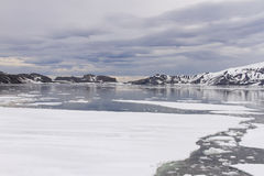 Solnedgång på valfångarefjärden, bedrägeriö, Antarktis Royaltyfri Foto