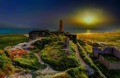 Solnedgång på Van Fortress arkivbild