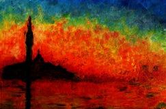 Solnedgång på Venedig, oljemålning. Arkivfoton