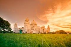 Solnedgång på Victoria Memorial, Kolkata arkivfoton