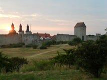 Solnedgång på Visby, Gotland, Sweeden Royaltyfria Foton