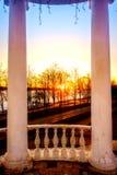 Solnedgång på Volga River Arkivfoton