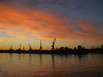 Solnedgång på Volgaet River, Ryssland Fotografering för Bildbyråer