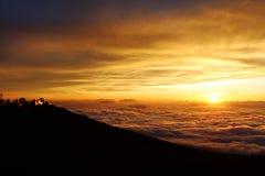 Solnedgång på vulkan, Maui Royaltyfri Foto