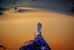 Solnedgång på Wahiba sander Arkivbild