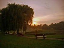 Solnedgång på Warszawa det Mokotow fältet Fotografering för Bildbyråer