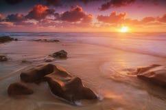 Solnedgång på Windansea Royaltyfria Foton