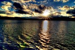 Solnedgång på Windermere Royaltyfri Foto