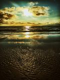 Solnedgång på Zandvoort Arkivfoton