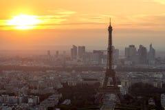 Solnedgång Paris Arkivfoto
