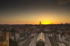 Solnedgång Porto Portugal Fotografering för Bildbyråer