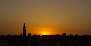 Solnedgång Porto Portugal Royaltyfri Foto