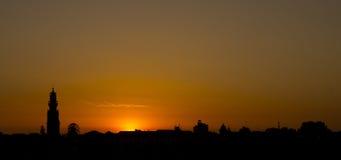 Solnedgång Porto Portugal Arkivfoto