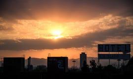Solnedgång runt om plazaen Garibaldi, historisk mitt, Mexico - stad, Mexico Arkivfoton