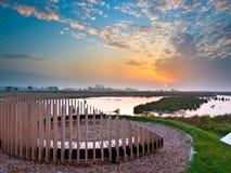 Solnedgång Seat som har uppsikt över Marsh Plain Royaltyfria Foton