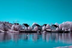 Solnedgång sjö, Braintree Fotografering för Bildbyråer