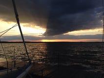 Solnedgång sjö Scugog Arkivbild