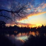 Solnedgång sjöar Royaltyfria Bilder