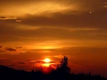 Solnedgång solskiva Fotografering för Bildbyråer