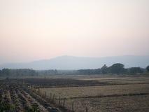 SOLNEDGÅNG som känner sig över skördade risfält Royaltyfri Bild