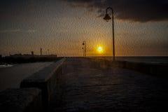 Solnedgång som oilpainting Arkivbild