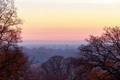 Solnedgång som ses från Richmond Park Royaltyfri Bild