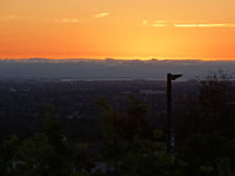 Solnedgång Sunnyvale Gurdwara Arkivfoto