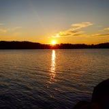 Solnedgång Sverige Royaltyfri Bild