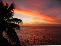 solnedgång tahiti Royaltyfri Fotografi