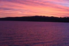 Solnedgång Taupo Nya Zeeland Fotografering för Bildbyråer