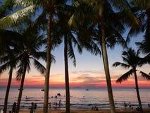 Solnedgång Thailand Pattaya royaltyfri bild