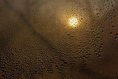 Solnedgång till och med misted exponeringsglas med droppar och droppander royaltyfri foto
