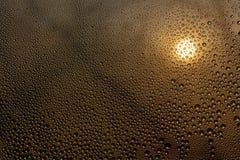 Solnedgång till och med misted exponeringsglas med droppar och droppander arkivbilder