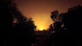 Solnedgång till och med träd och hus arkivfilmer