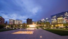 solnedgång tim för kontor för beijing byggnader i stadens centrum Arkivfoton