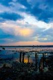 Solnedgång torkad-upp salt sjö Royaltyfria Bilder