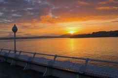 Solnedgång Torquay England Arkivbild