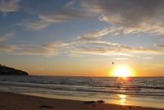 Solnedgång Torrance Beach, Los Angeles, Kalifornien Arkivbild