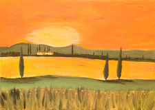 solnedgång tuscany Fotografering för Bildbyråer