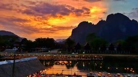 Solnedgång Vangvieng, Laos Fotografering för Bildbyråer