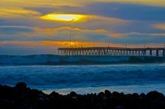 Solnedgång Ventura Pier Royaltyfria Bilder