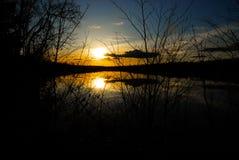Solnedgång VI för torr sjö arkivfoto