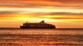 Solnedgång Viking Line Royaltyfri Bild