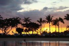 Solnedgång Waikiki Royaltyfri Fotografi