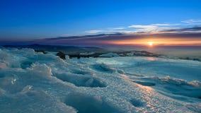 Solnedgång Wasserkuppe Rhön Royaltyfri Foto